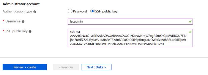 SSH Public Key selection in Azure FortiAuthenticator setup
