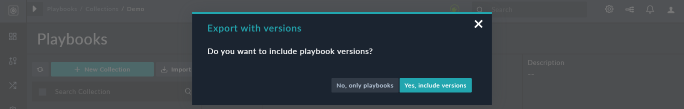 Exporting a playbook with versions