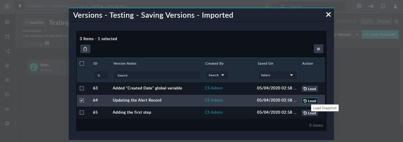 Save Version - View Saved Versions