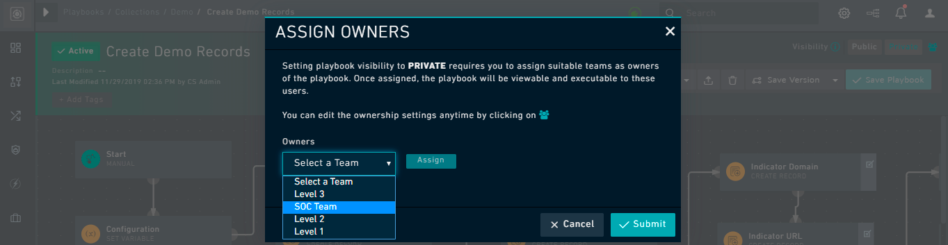 Playbook Designer - Ownership Dialog