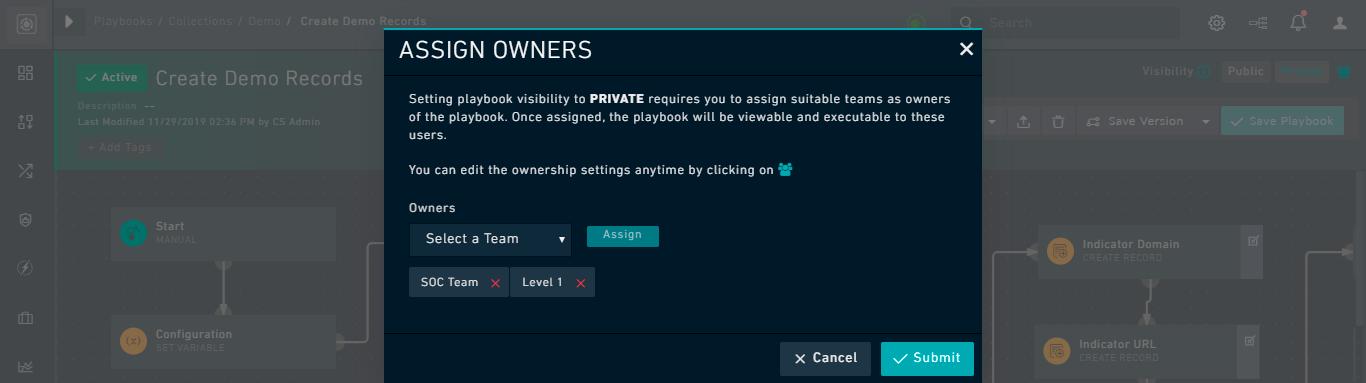 Playbook Designer - Ownership Dialog: Removing teams