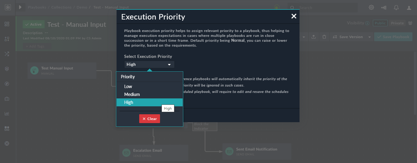 Setting the playbook execution priority