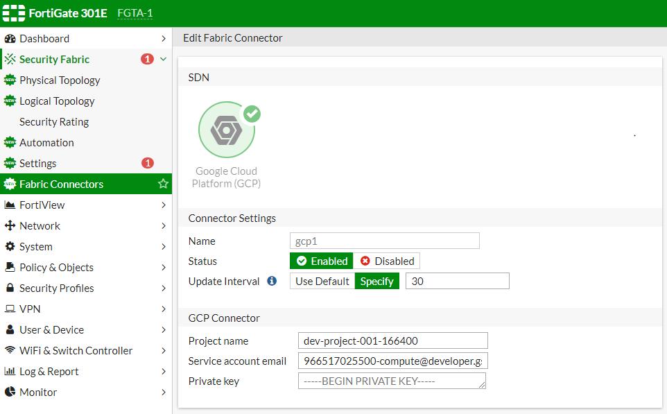 Screenshot of SDN connector configuration for GCP