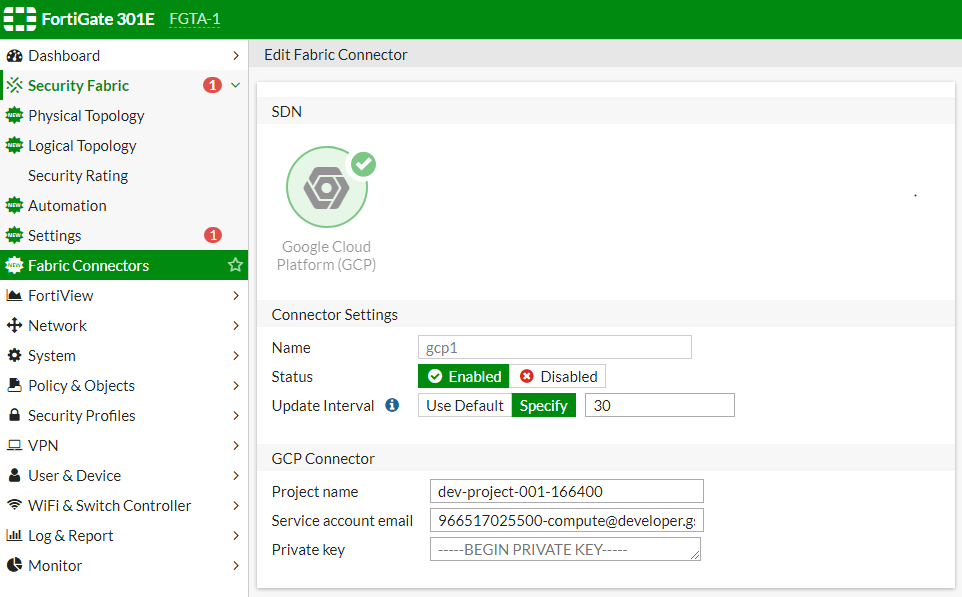 Screenshot of SDN connector configuration for GCP