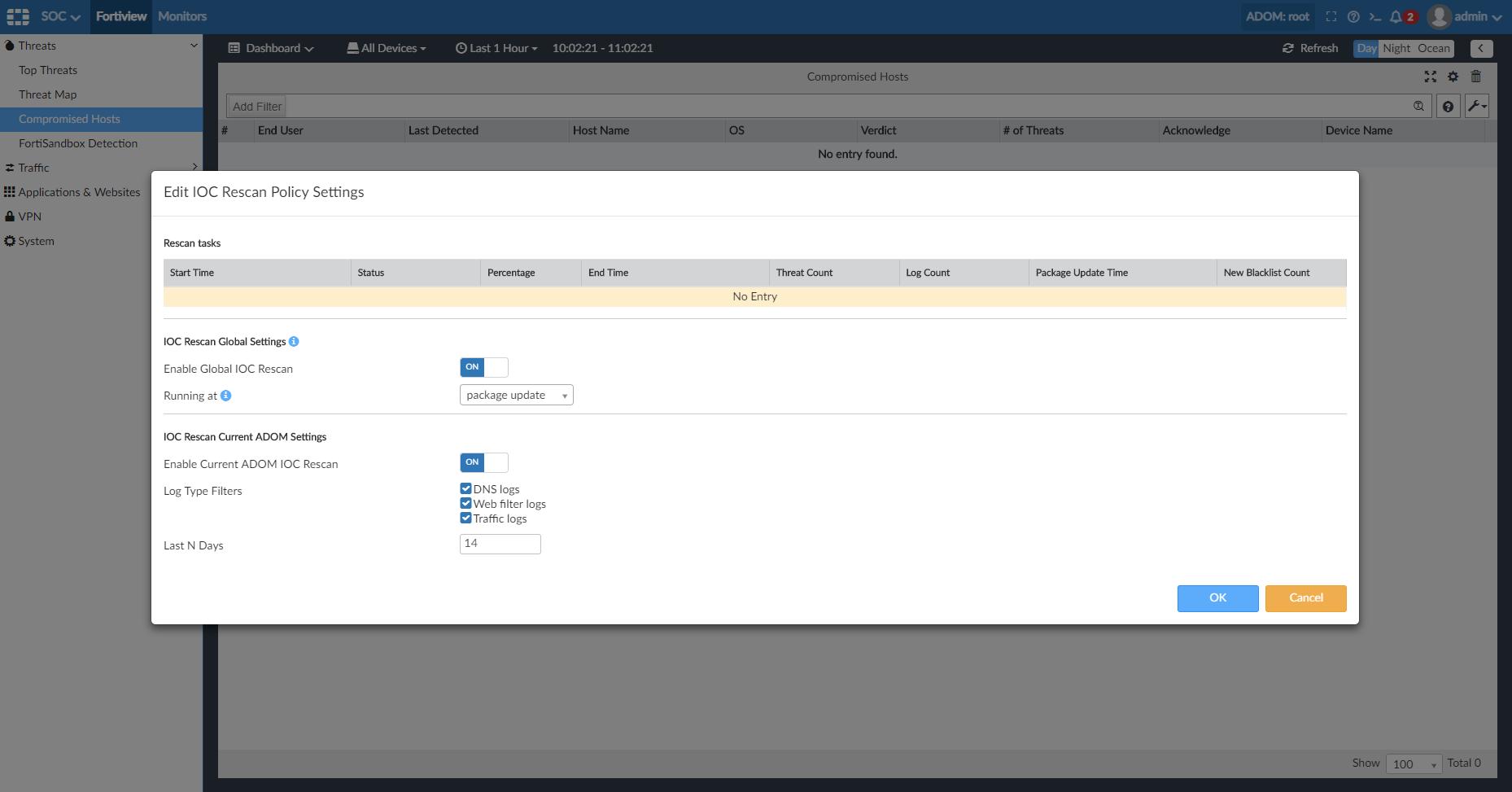 Screenshot displaying the IOC rescan policy settings.