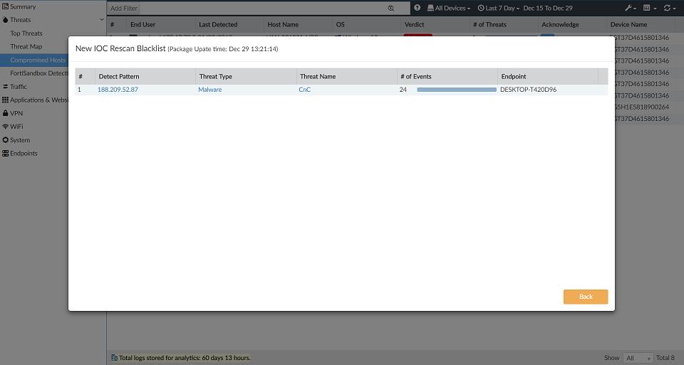 Screenshot displaying specific scan task details.