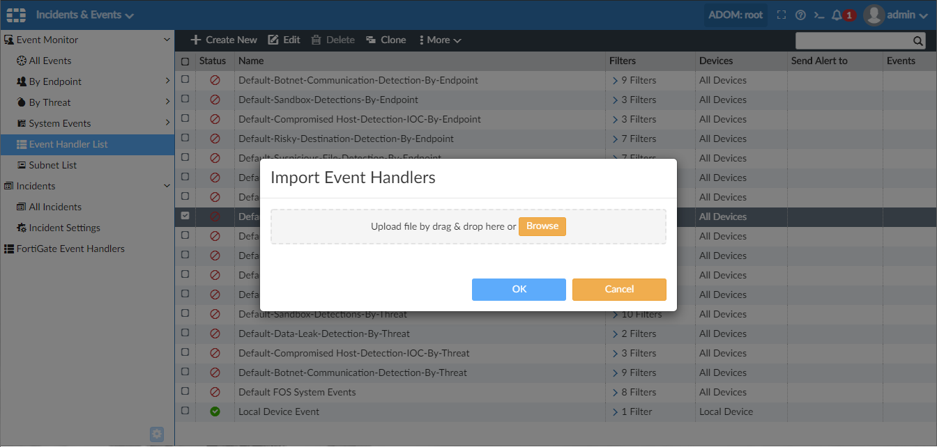 Screenshot displaying import of event handlers.