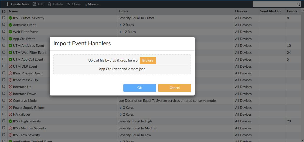 Screenshot displaying imported event handler file