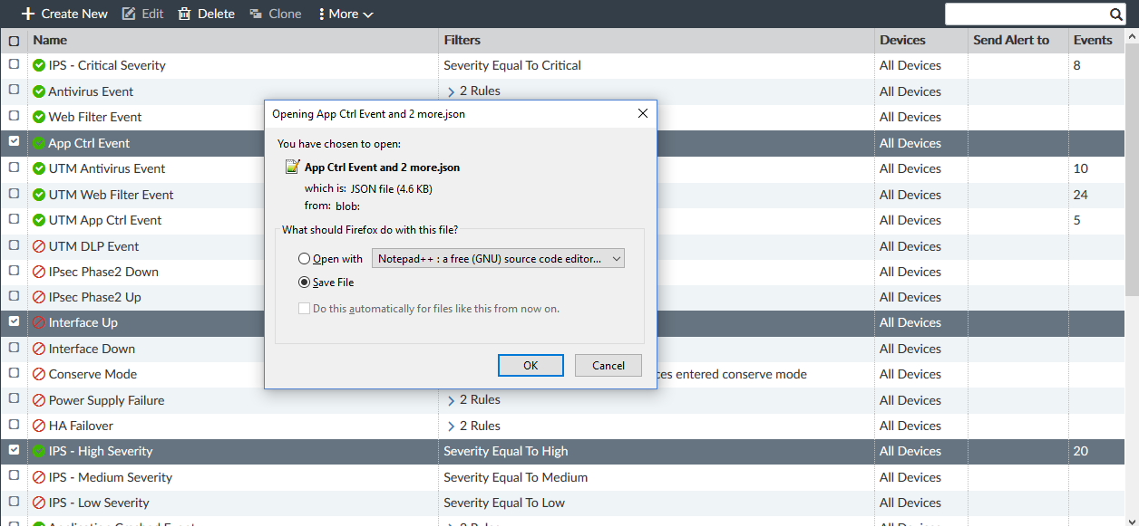 Screenshot displaying export file being saved.