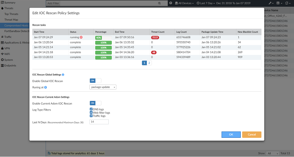 Screenshot displaying the populated rescan tasks table.