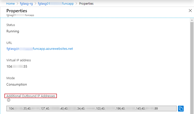 Function App additional outbound IP addresses