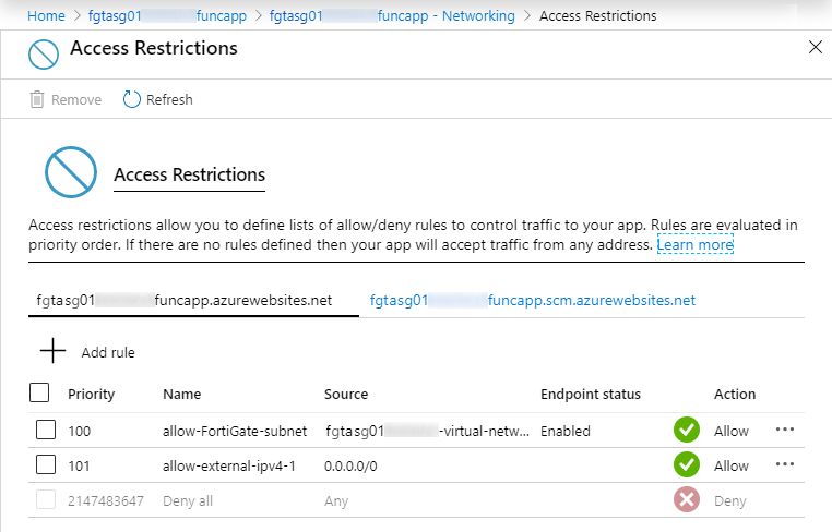 Function App Access restrictions