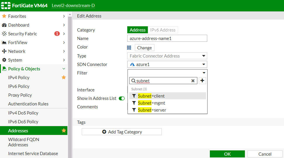 Screenshot displays a search of filters.
