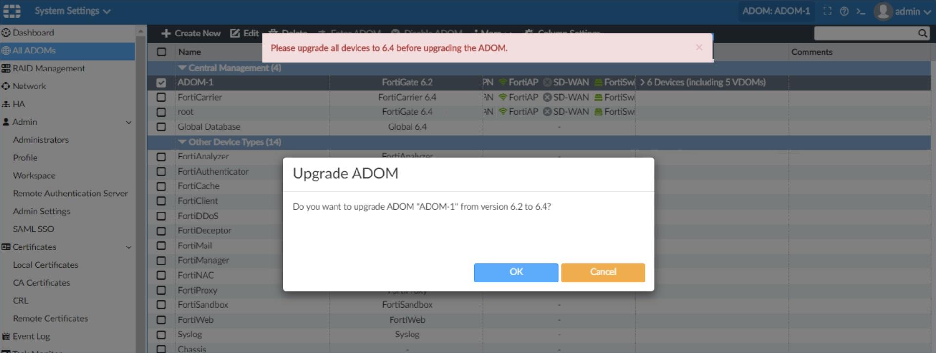 ADOM Upgrade Error