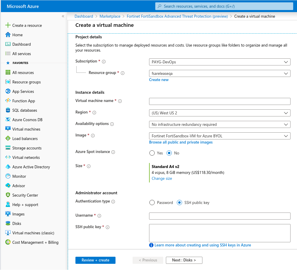 Screenshot displays Azure Wizard with information required for FSA VM