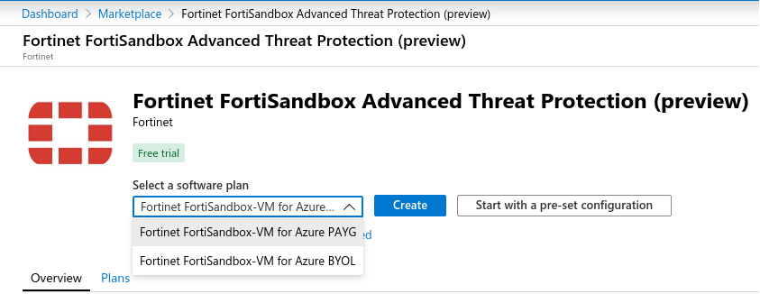 Screenshot displaying the Azure Wizard search for Fortinet Sandbox