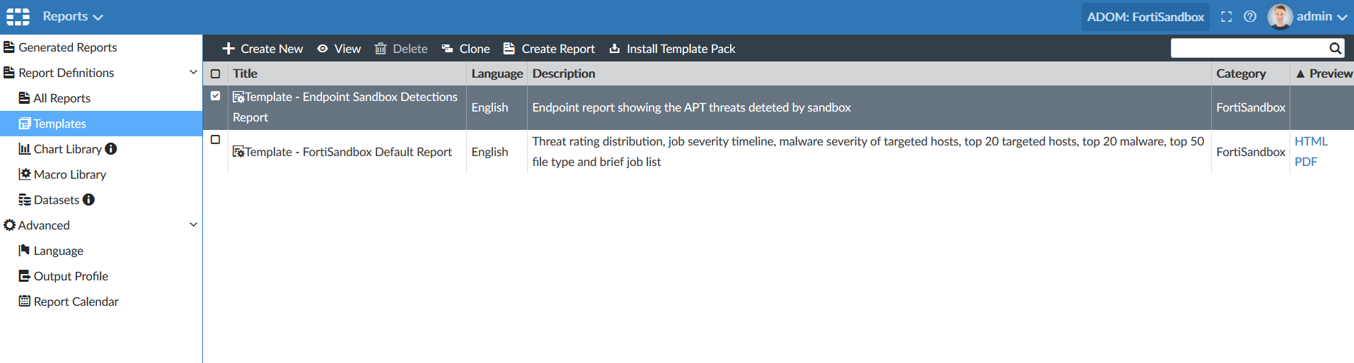 Screenshot displaying the selection of Endpoint Sandbox Detections Report