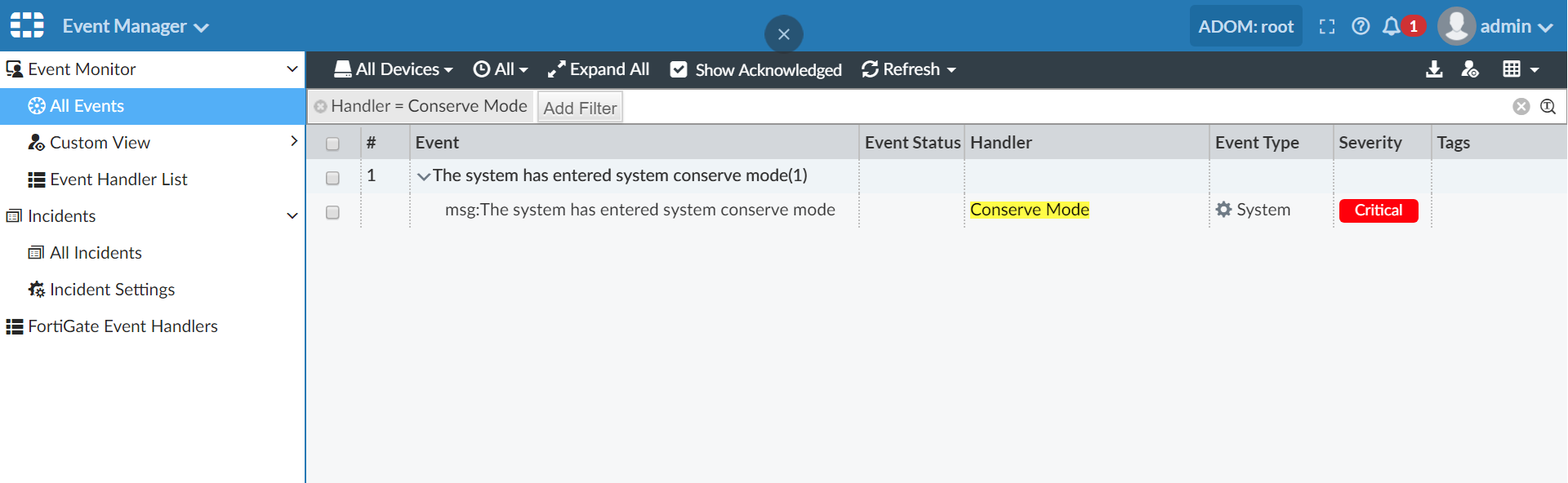 Screenshot of conserve mode by legacy handler