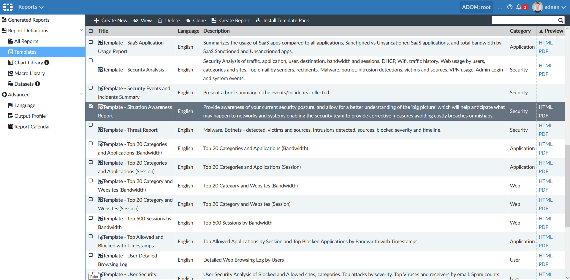 Screenshot of highlighted situation awareness report