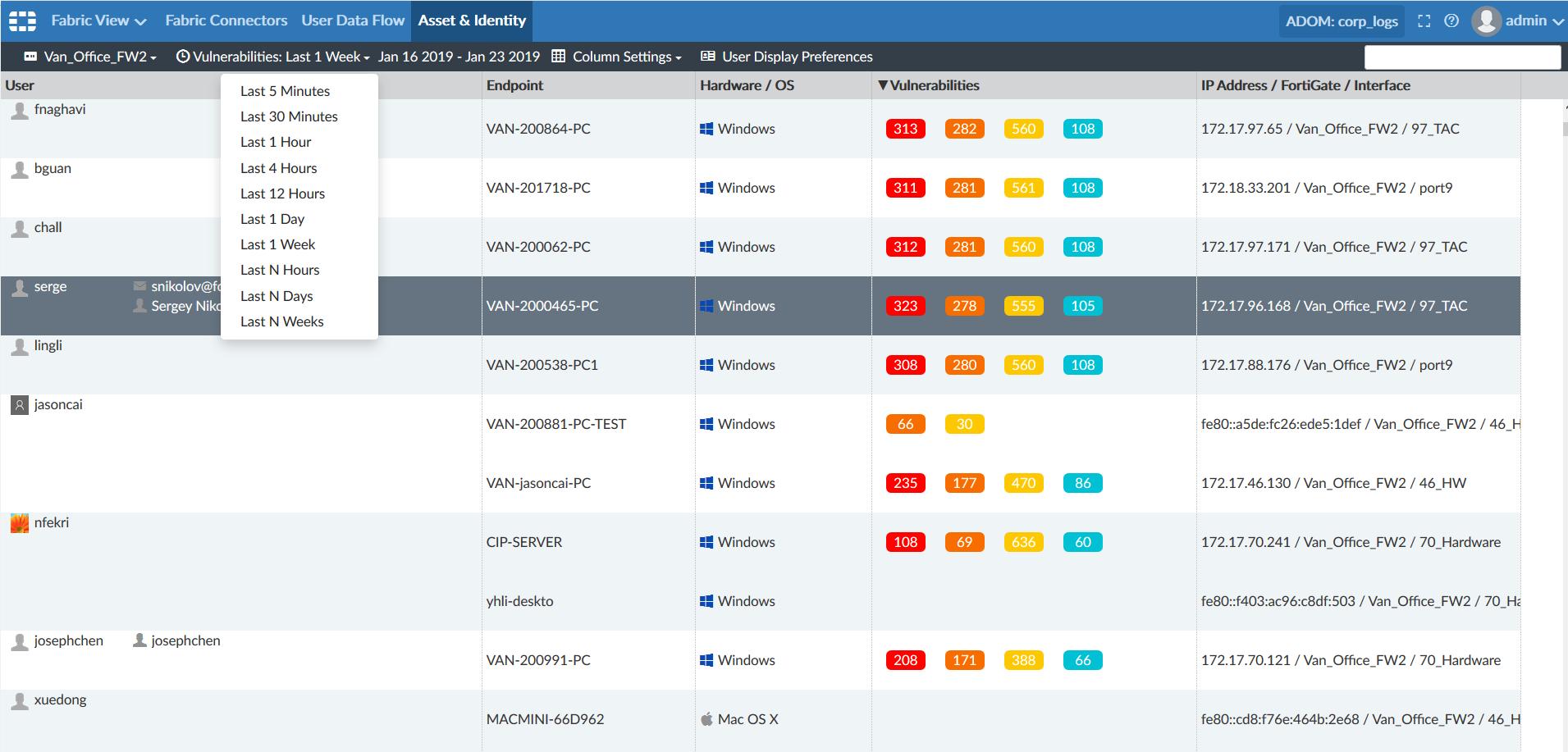 Screenshot displaying the option to set displayed timerange