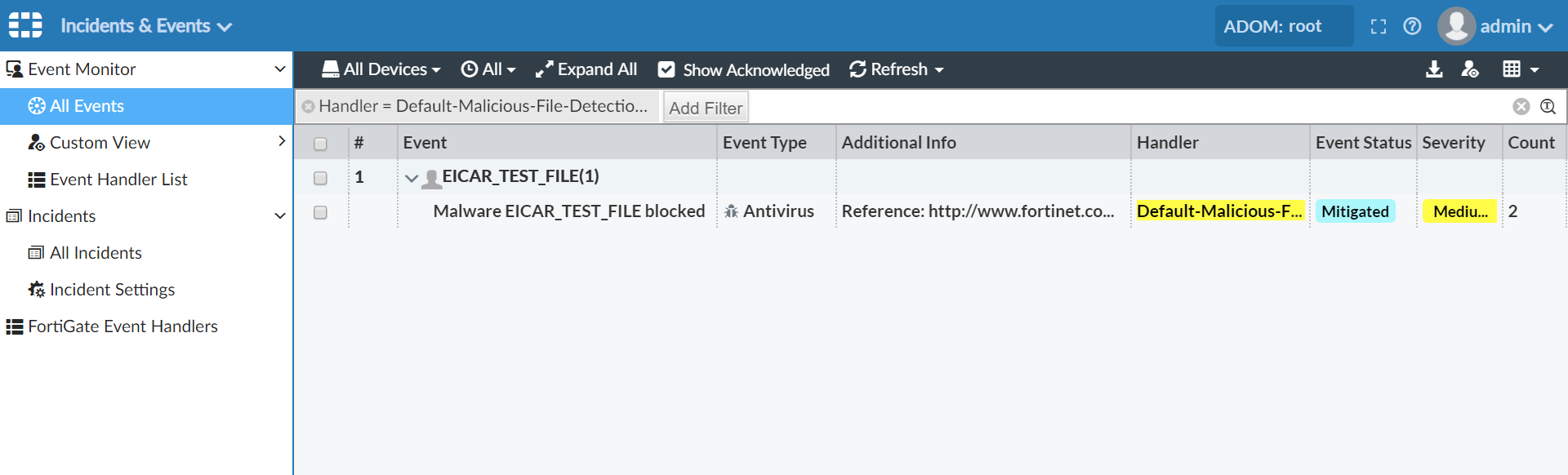 Screenshot of new UTM malicious file handler alert