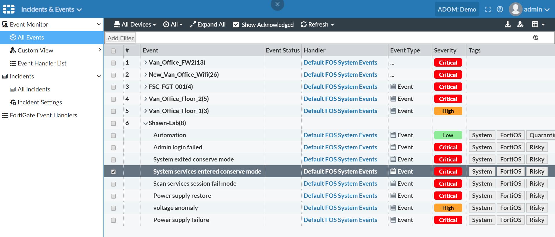 Screenshot of conserve mode by new handler