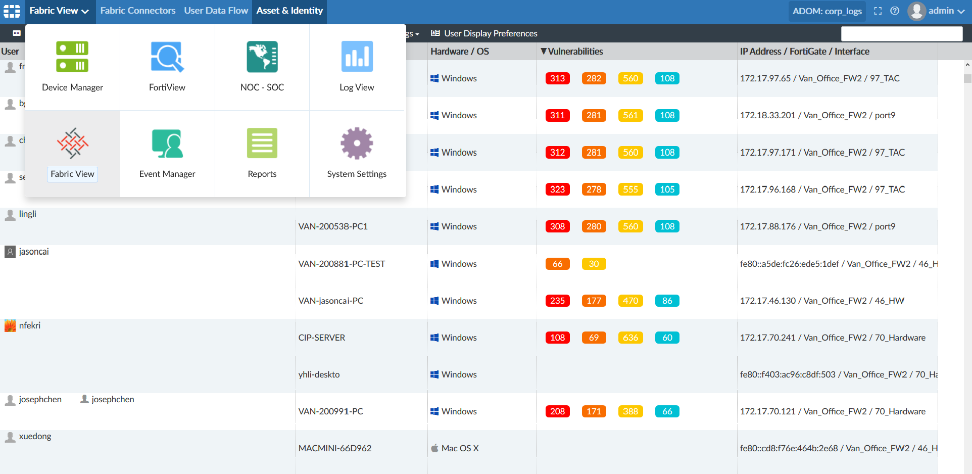 Screenshot displaying Asset & Identity Center