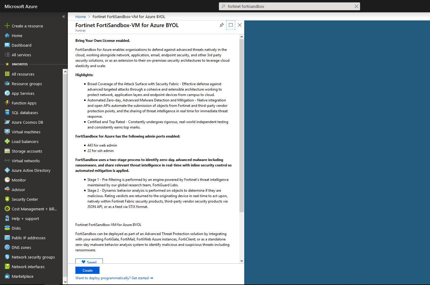Screenshot displaying the creation of FSA VM in the Azure Wizard