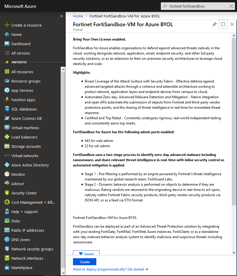Screenshot displaying the creation of FSA VM in the Azure Wizard
