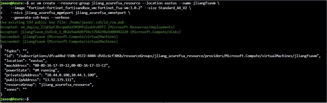 Screenshot of azure CLI command, az vm create