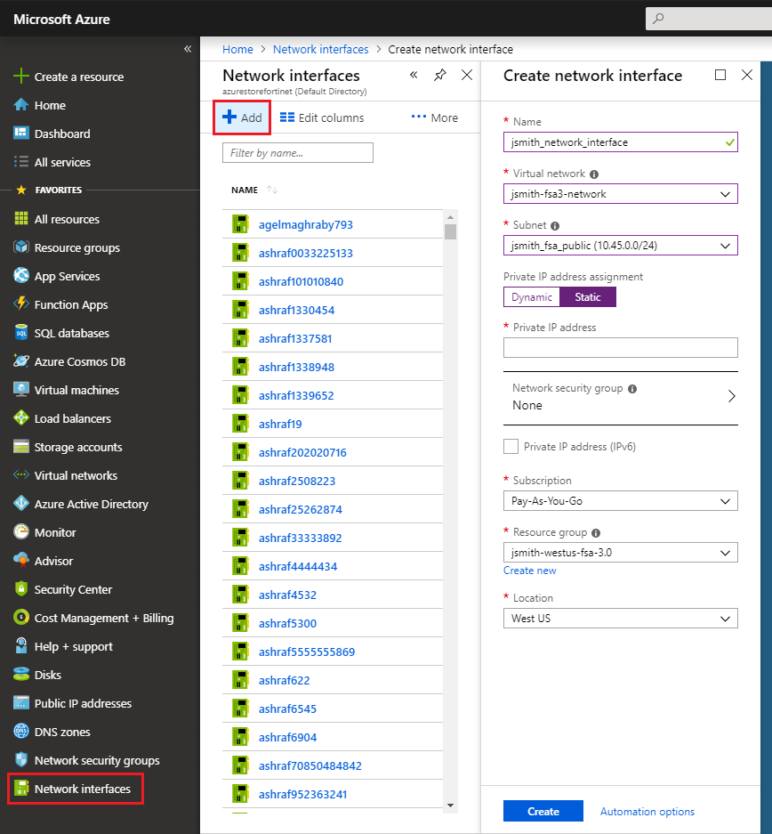 Microsoft Azure dashboard showing the creation of a network interface.