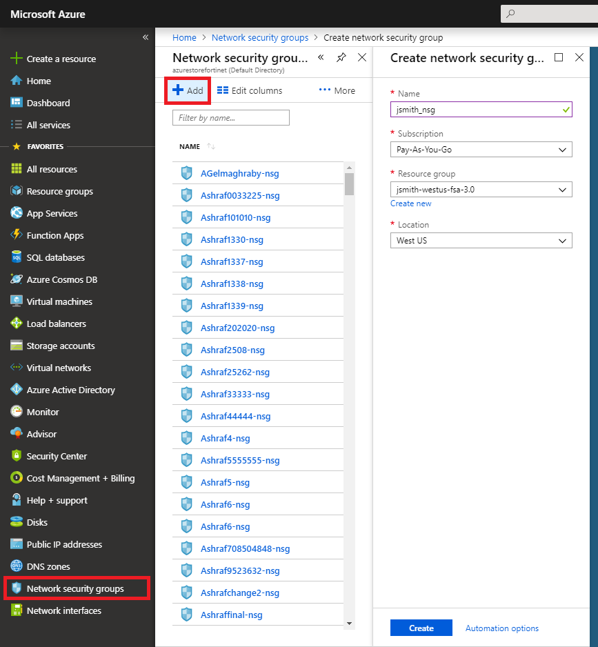 Microsoft Azure dashboard showing the creation of a network security group.