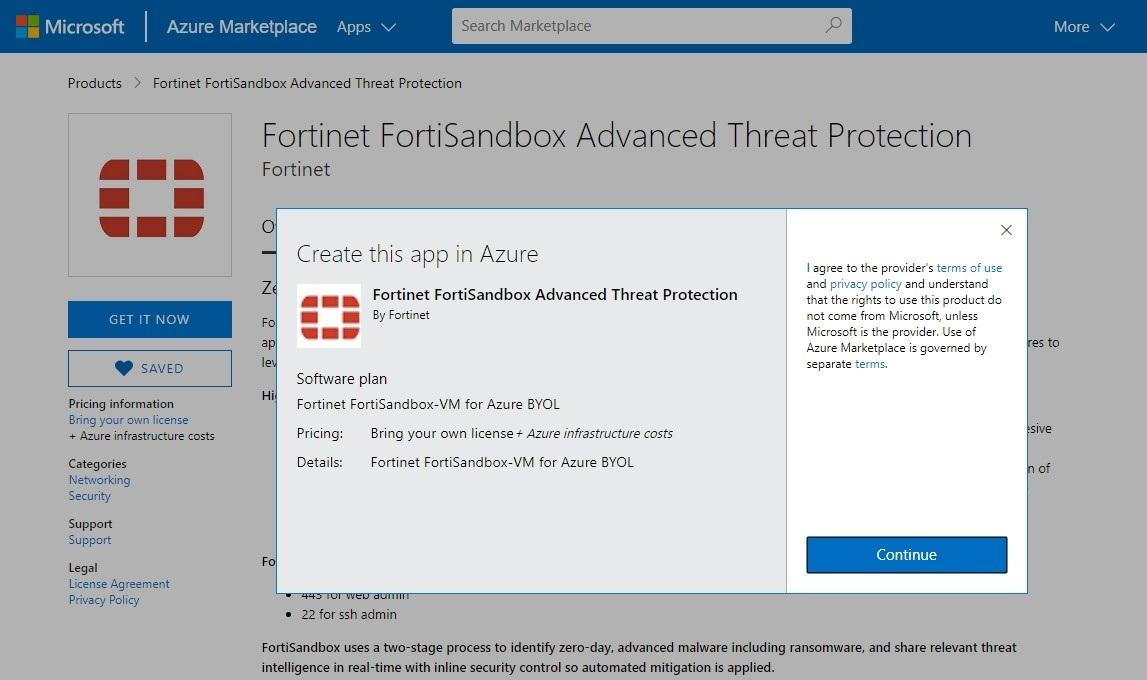 Screenshot displaying the Azure Wizard search for Fortinet Sandbox