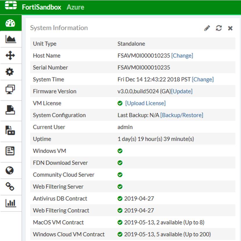 Green indicator displays on FSA Azure Dashboard