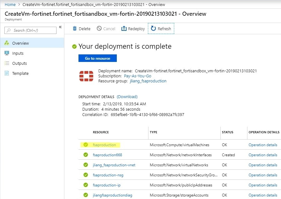 Screenshot displaying the successful deployment of FSA for Azure
