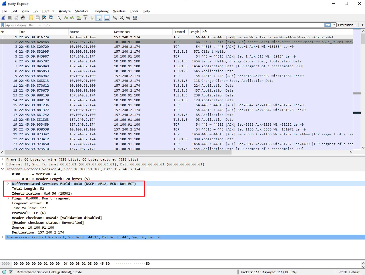 DSCP tagged VoIP traffic analysis