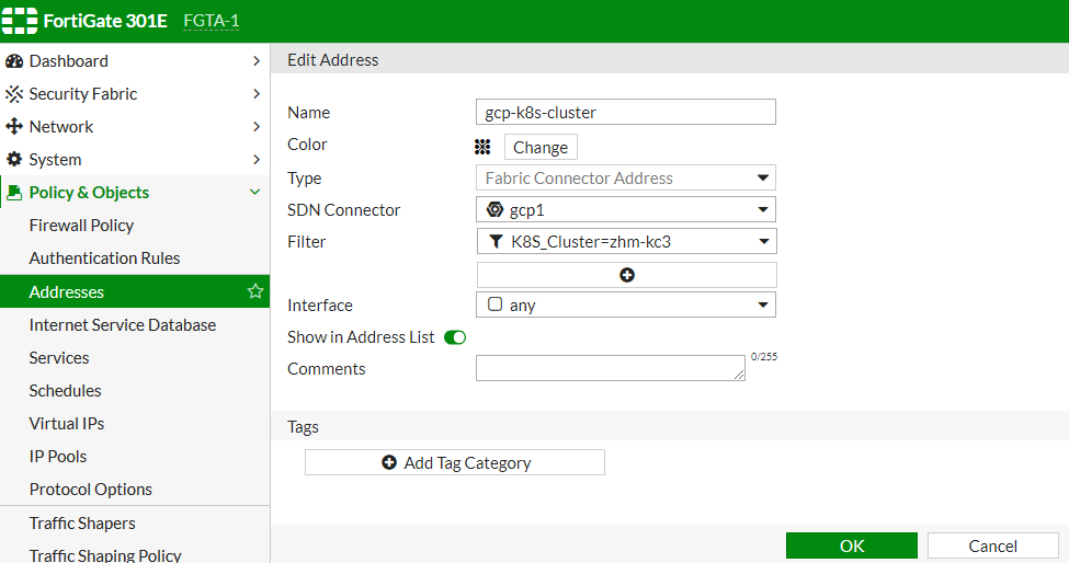 Screenshot of GCP Kubernetes setup displaying the creation of dynamic firewall address