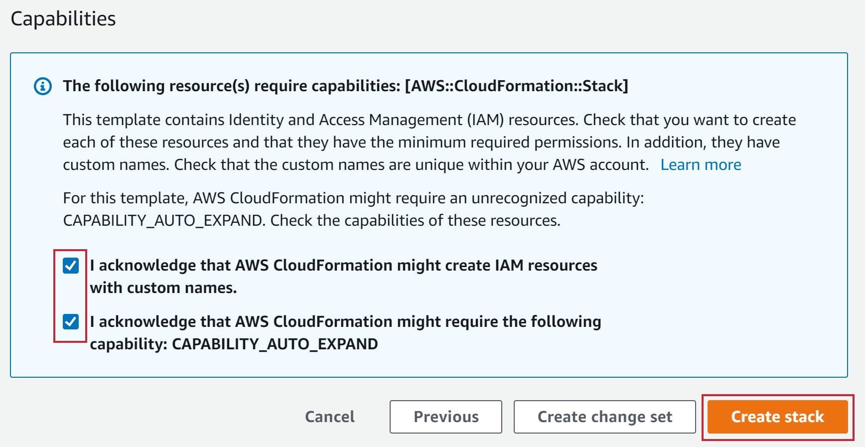 CloudFormation Create Stack Acknowledgements