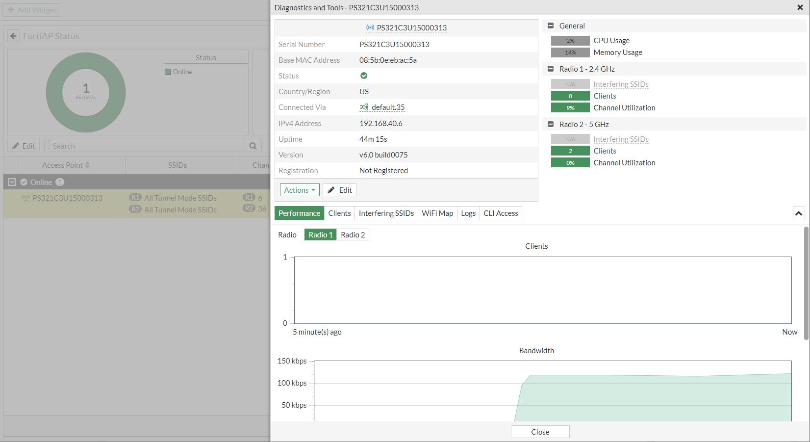 FortiAP Status monitor diagnostics and tools