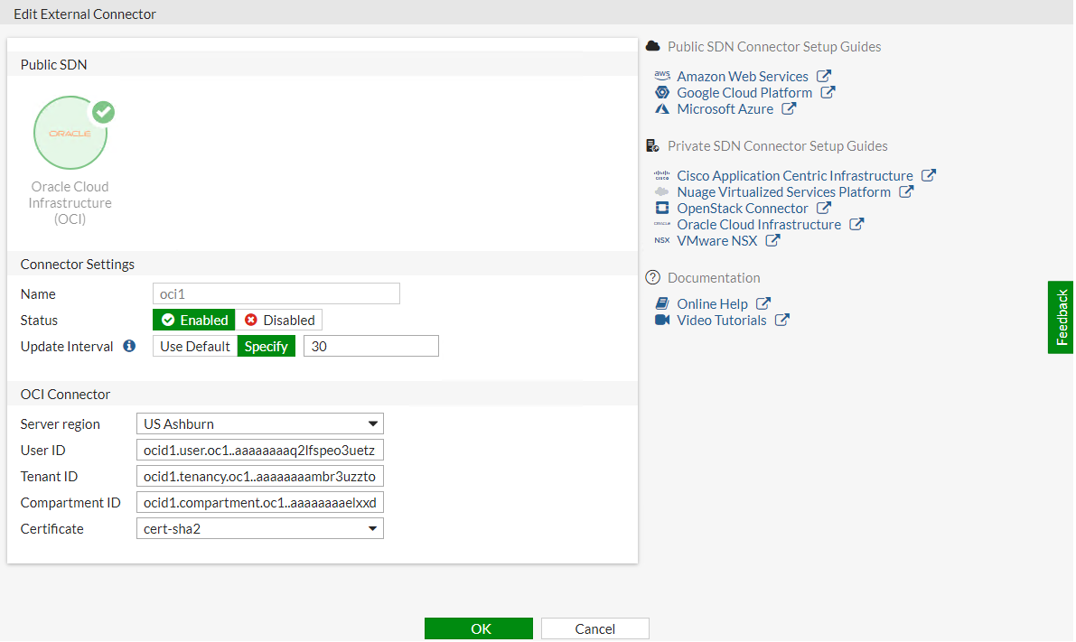 Screenshot of SDN connector configuration for Azure AKS