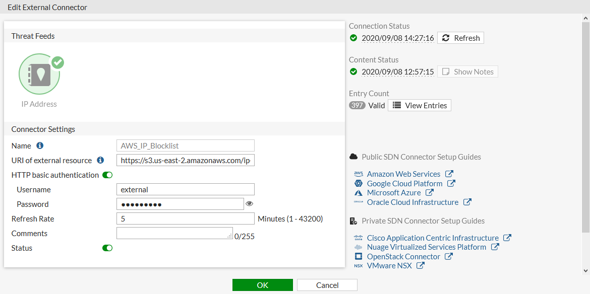 Username and password authentication is enabled through connector settings.