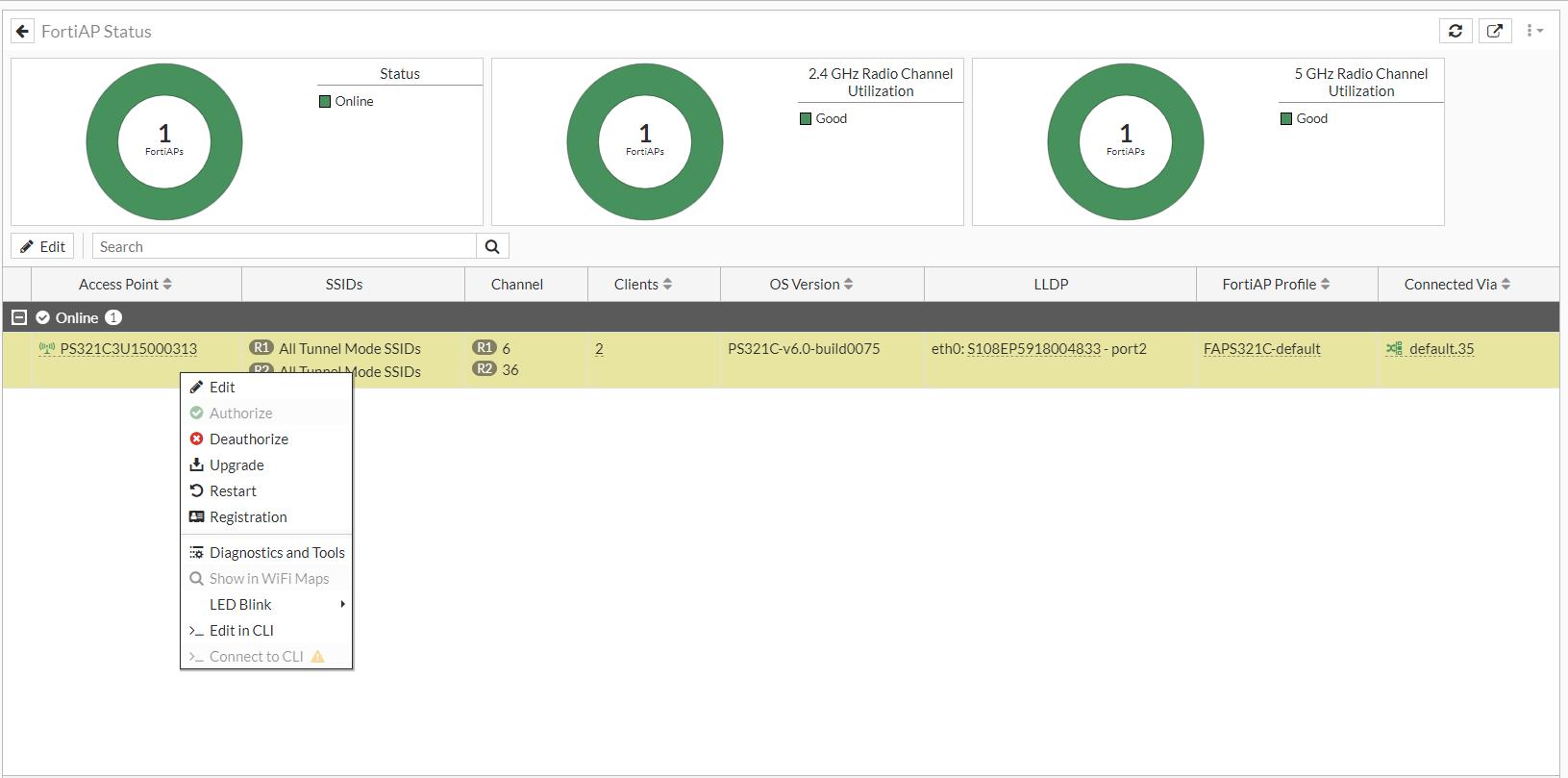 FortiAP Status monitor right-click menu