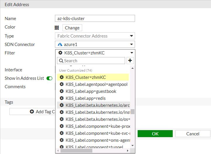 Screenshot of Azure Kubernetes setup displaying the creation of dynamic firewall address
