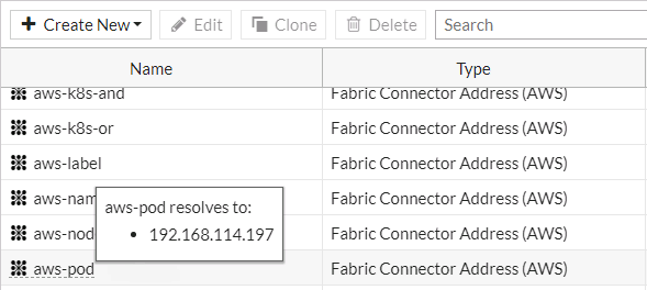 Screenshot displaying the IP being resolved by the SDN connector.